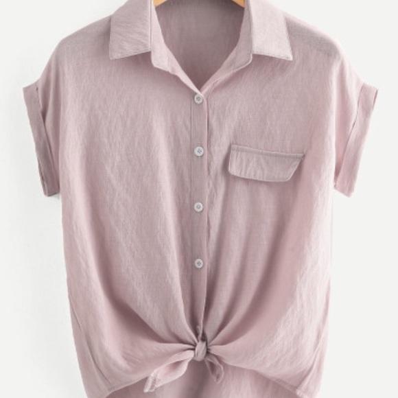 c539f20ce Rolled Cuff Knotted Hem Shirt. M 5b707e791e2d2deaa5b19fe0